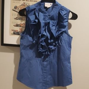 Anthropologie Blue Robin Ruffle Blouse 4
